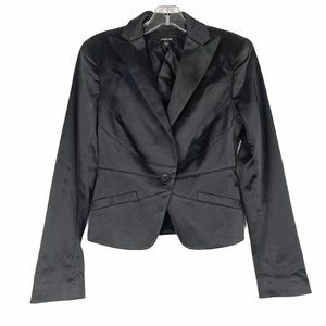 bebe Black Satin Fitted Blazer Logo Lining Size 2